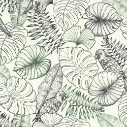 Behang met grote tropische bladeren